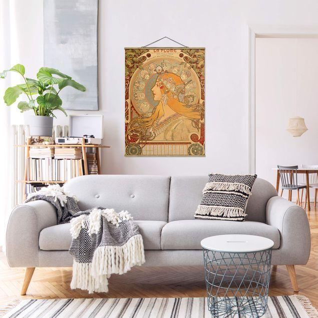 Stoffbild mit Posterleisten - Alfons Mucha - Sternkreiszeichen - Hochformat 3:4