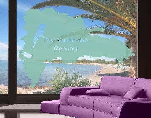 Fensterfolie - Fenstertattoo No.476 Dominikanische Republik - Milchglasfolie