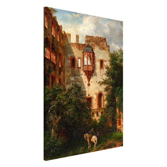 Magnettafel - Carl Ludwig Fahrbach - Im Hof des Heidelberger Schlosses - Memoboard Hochformat 3:2