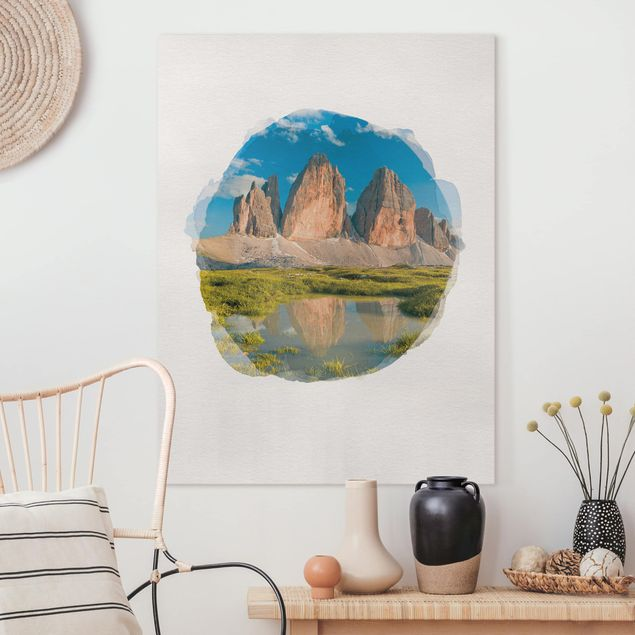 Leinwandbild - Wasserfarben - Südtiroler Zinnen und Wasserspiegelung - Hochformat 4:3