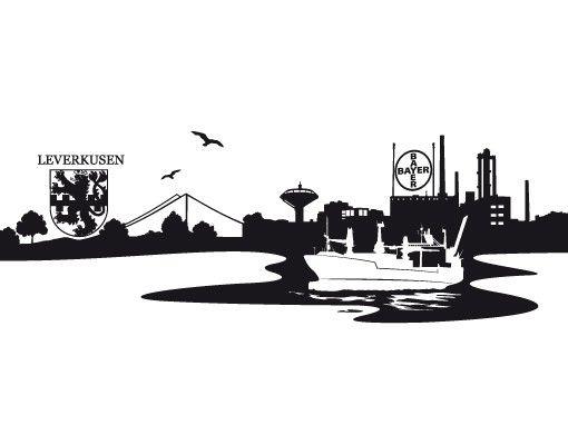 Stadt Leverkusen - Wandtattoo Skyline - No.MW10 Skyline Leverkusen Wandtattoo