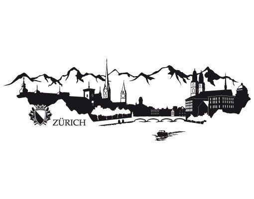 Fensterfolie - Fenstertattoo No.RS3 Skyline Zürich - Milchglasfolie