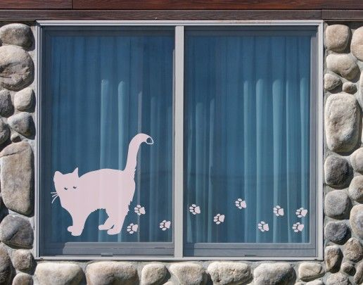 Fensterfolie - Fenstertattoo No.UL632 Große Katze - Milchglasfolie
