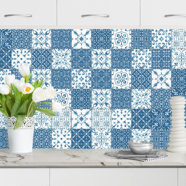 Küchenrückwand - Fliesen Mustermix Blau Weiß