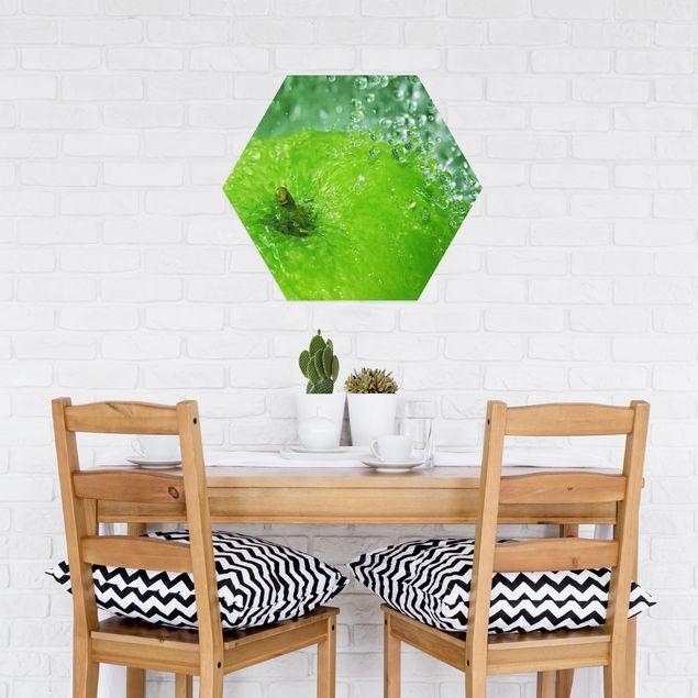 Hexagon Bild Alu-Dibond - Green Apple