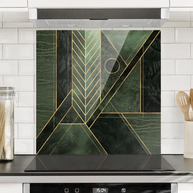Spritzschutz Glas - Geometrische Formen Smaragd Gold - Quadrat 1:1