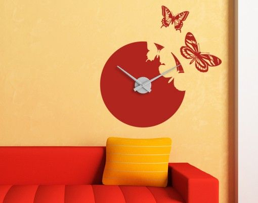 Wandtattoo Schmetterling Uhr No.AC24 Schmetterling