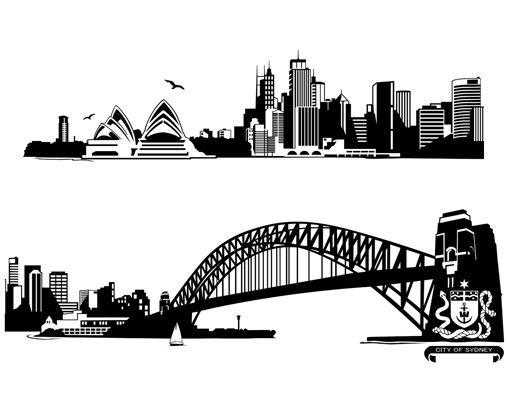 Wandtattoo Skyline No.FB50 Sydney Skyline XXL