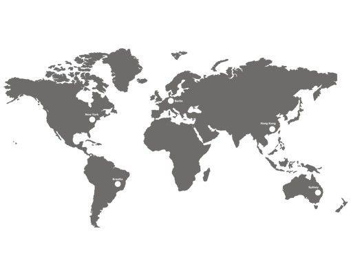 Wandtattoo Uhr No.AC42 Weltzeitzonen