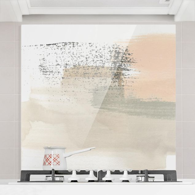 Glas Spritzschutz - Dichtung mit Rouge I - Quadrat - 1:1
