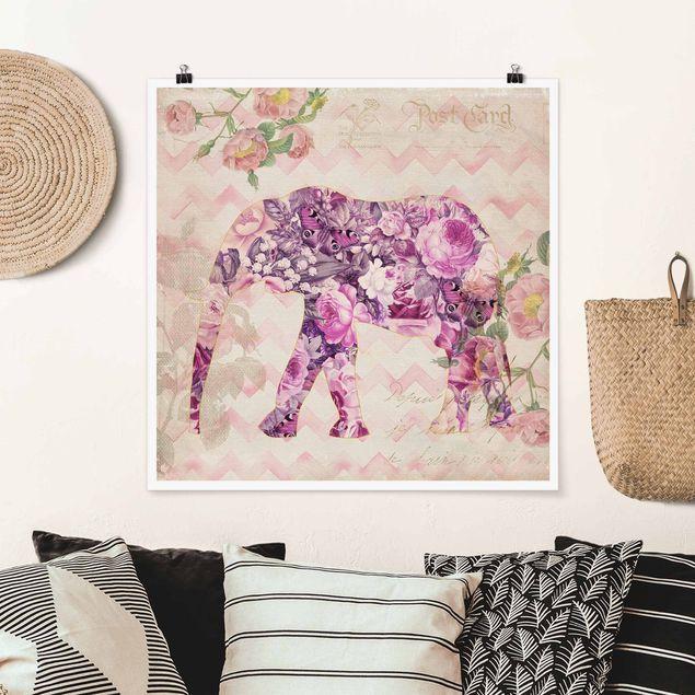 Poster - Vintage Collage - Rosa Blüten Elefant - Quadrat 1:1