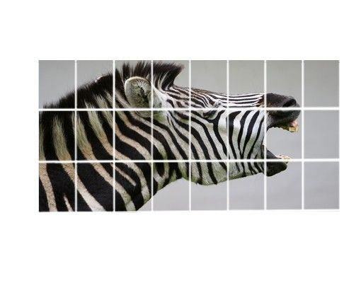 Fliesenbild - Brüllendes Zebra