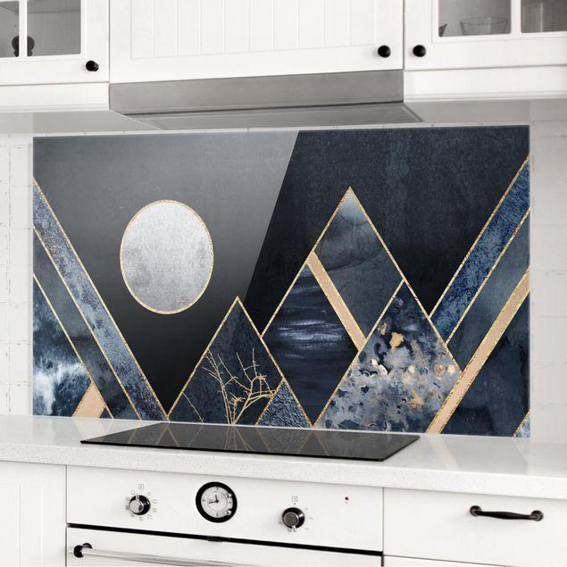 Spritzschutz Glas - Goldener Mond abstrakte schwarze Berge - Querformat 1:2
