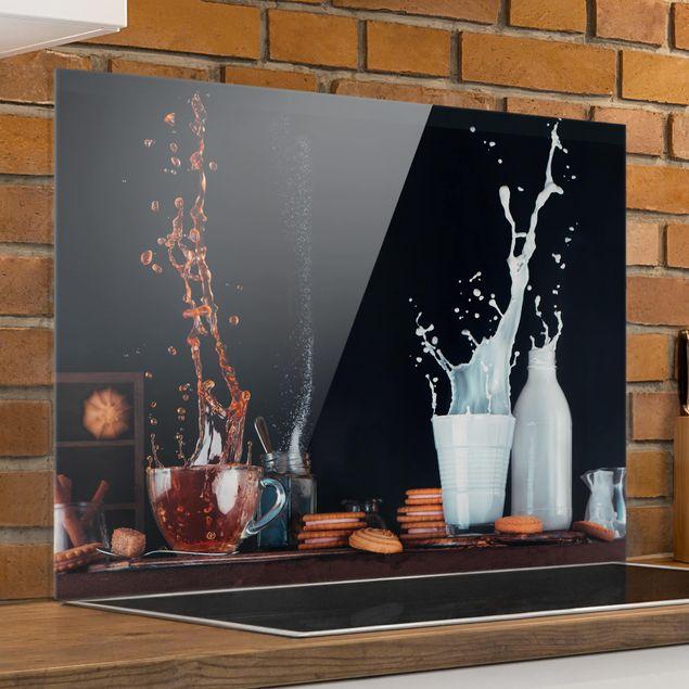 Glas Spritzschutz - Milch und Tee Komposition - Querformat - 4:3