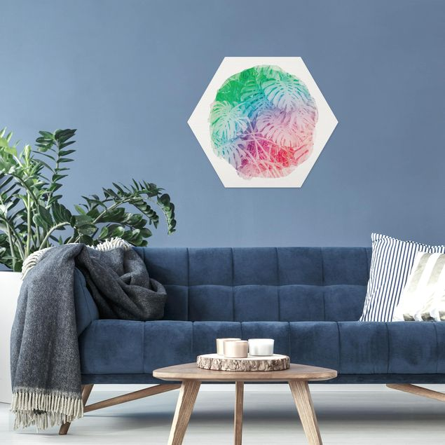 Hexagon Bild Forex - Wasserfarben - Pink Monstera