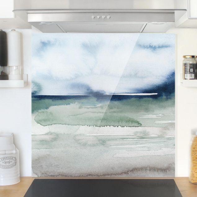 Glas Spritzschutz - Meereswogen I - Quadrat - 1:1