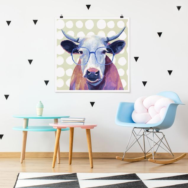 Poster - Bebrillte Tiere - Kuh - Quadrat 1:1
