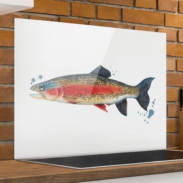 Glas Spritzschutz - Farbfang - Forelle - Querformat - 4:3