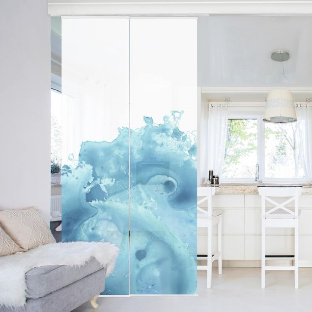 Schiebegardinen Set - Welle Aquarell Türkis I - Flächenvorhang