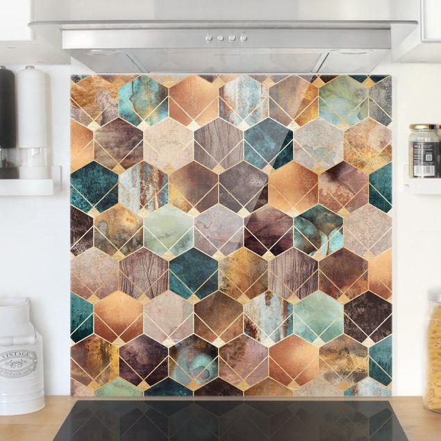 Glas Spritzschutz - Türkise Geometrie goldenes Art Deco - Quadrat - 1:1