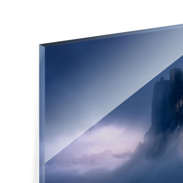 Glas Spritzschutz - Drei Zinnen in blauem Licht - Querformat - 4:3