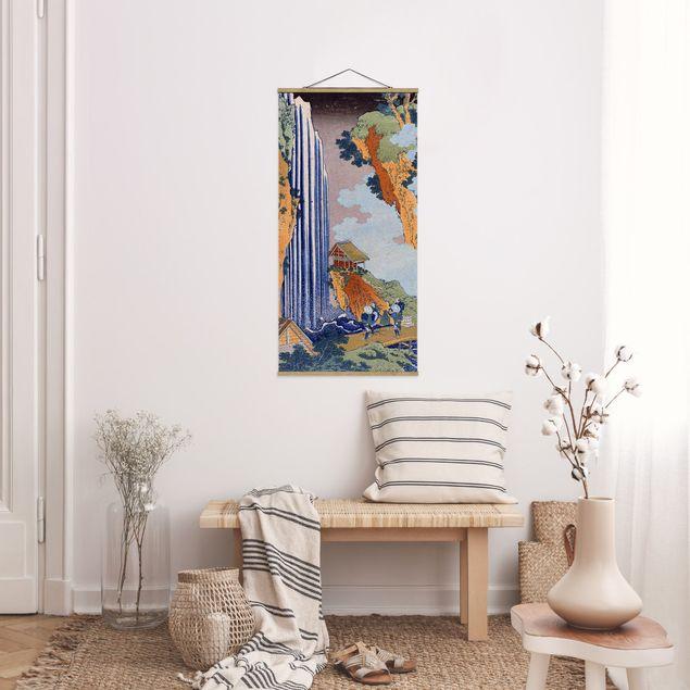 Stoffbild mit Posterleisten - Katsushika Hokusai - Ono Wasserfall - Hochformat 1:2