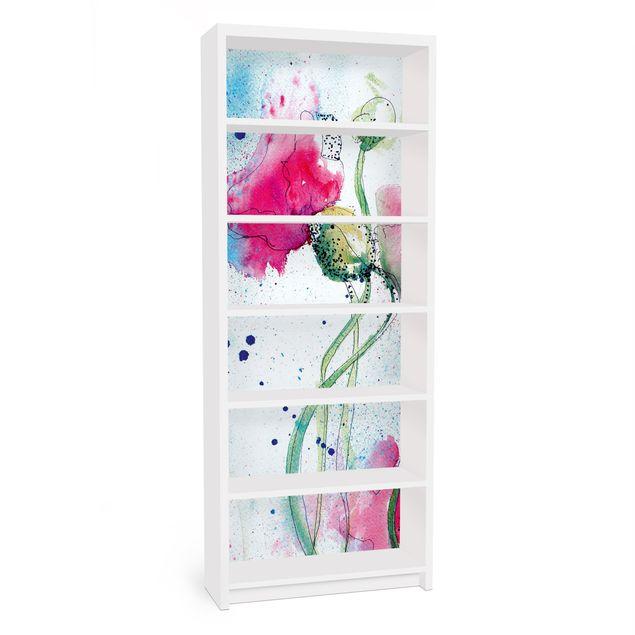 Möbelfolie für IKEA Billy Regal - Klebefolie Painted Poppies