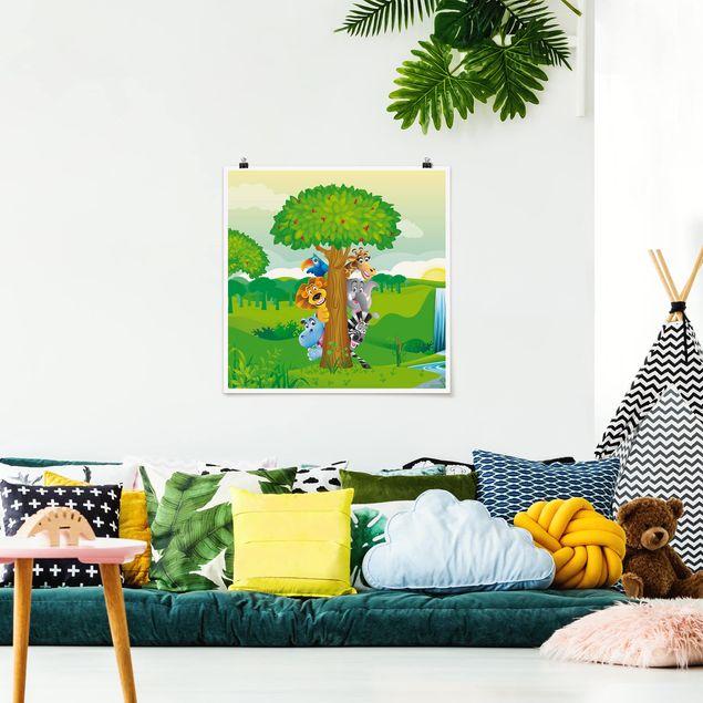 Poster - No.BF1 Dschungeltiere - Quadrat 1:1