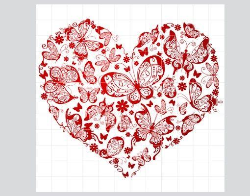 Fliesenbild - Herz aus Schmetterlingen