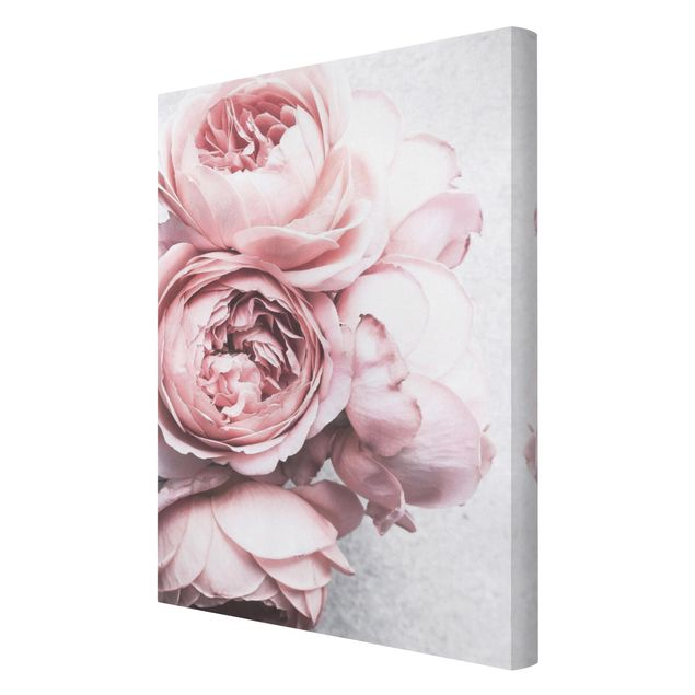 Leinwandbild - Rosa Pfingstrosenblüten Shabby Pastell - Hochformat 3:2