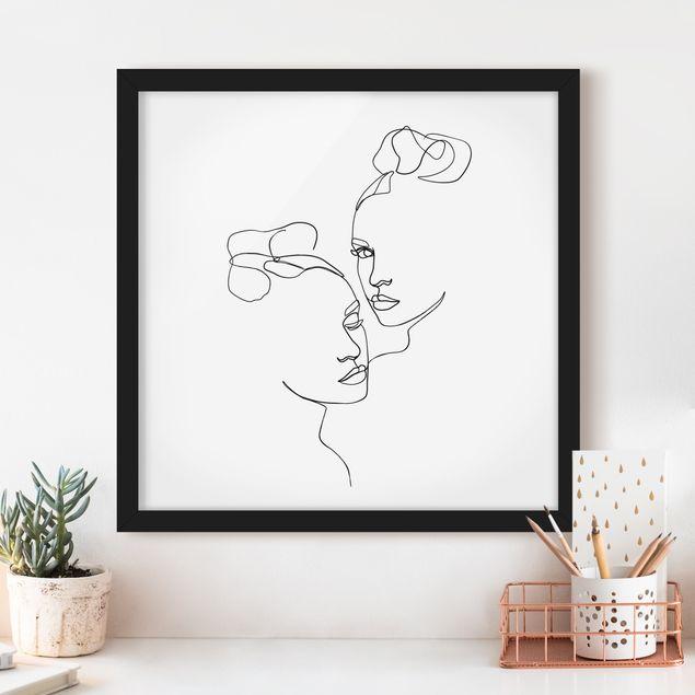 Bild mit Rahmen - Line Art Gesichter Frauen Schwarz Weiß - Quadrat 1:1