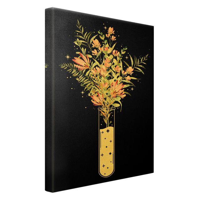 Leinwandbild Gold - Blumen im Reagenzglas - Hochformat 2:3