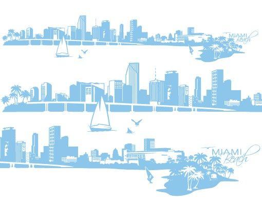 Stadt Miami - Wandtattoo Skyline - No.FB71 Miami Beach Skyline XXL