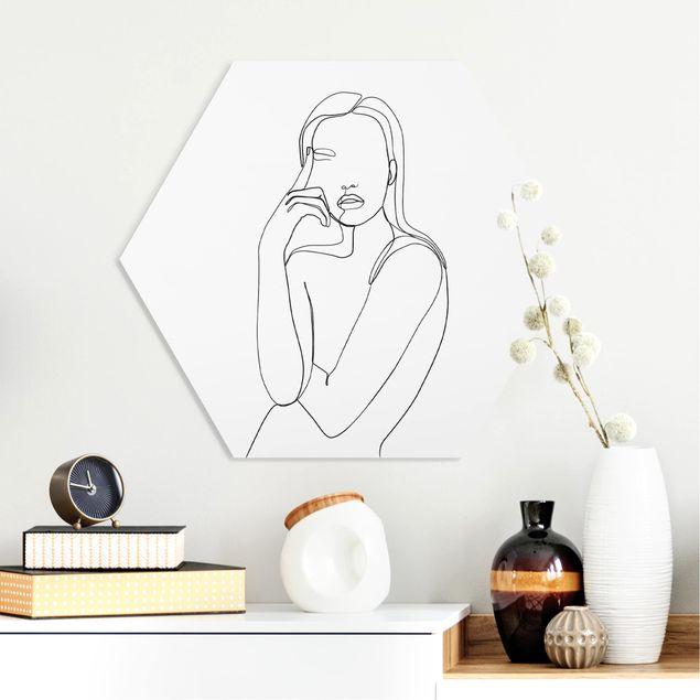 Hexagon Bild Forex - Line Art Nachdenkliche Frau Schwarz Weiß