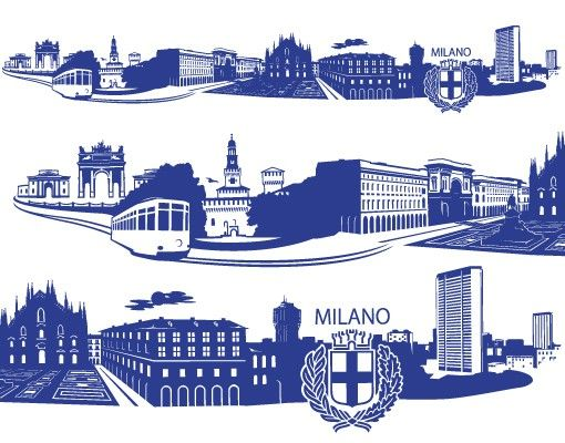 Wandtattoo Skyline No.FB80 Mailand Skyline XXL