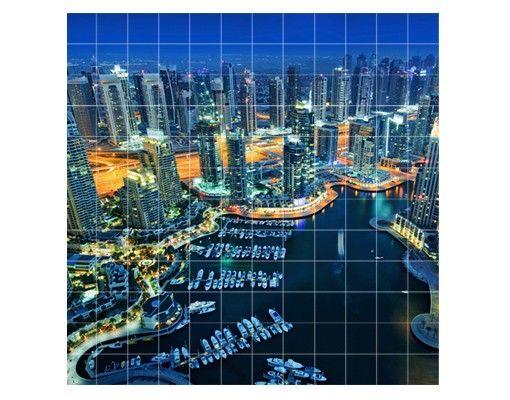 Fliesenbild - Nächtliche Dubai Marina