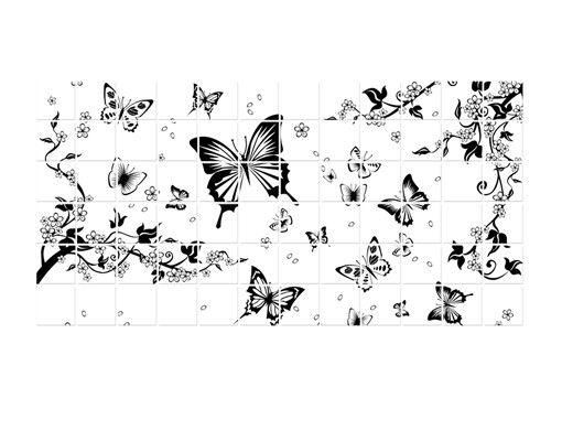 Fliesenbild - Blumen und Schmetterlinge