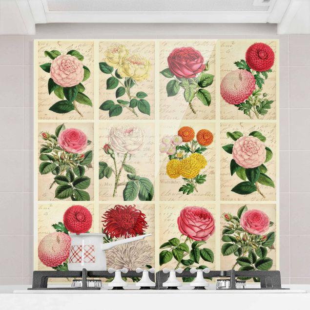 Glas Spritzschutz - Vintage Blumen Collage - Quadrat - 1:1