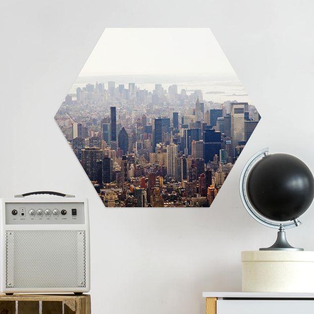 Hexagon Bild Alu-Dibond - Der Morgen in New York