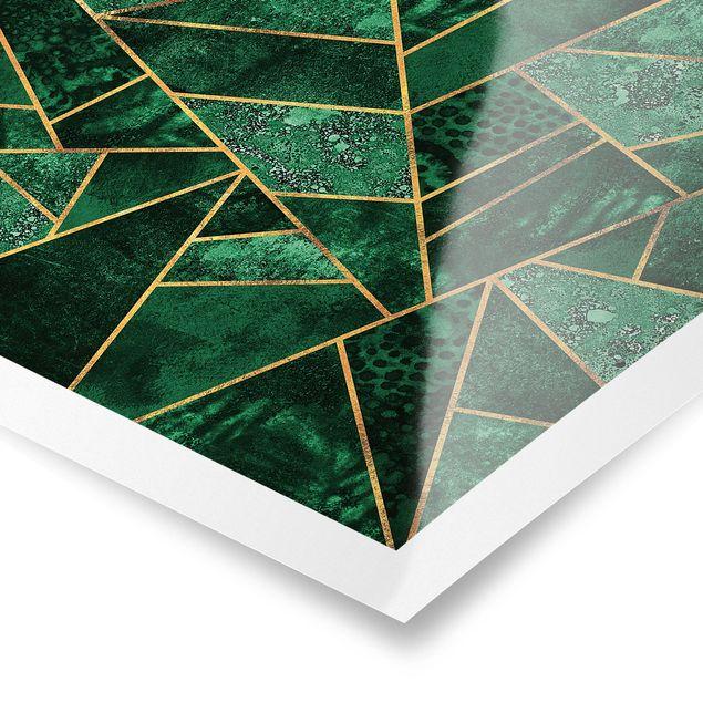 Poster - Dunkler Smaragd mit Gold - Quadrat 1:1