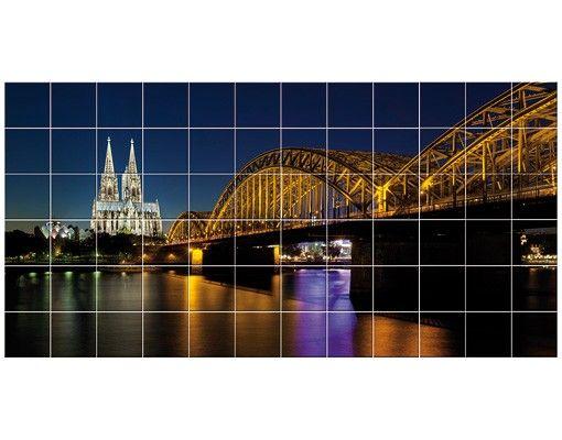 Fliesenbild - Köln bei Nacht