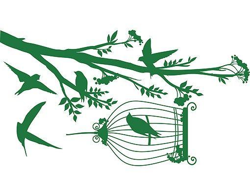 Wandtattoo Wald - Baum & Vögel No.RS51 Vögel naschen Beeren