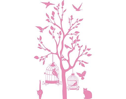 Wandtattoo Baum Vögel Katze No.RS57 Katzen und Vögel II