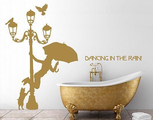 Wandtattoo Katze No.RS62 Wunschtext Dancing In The Rain