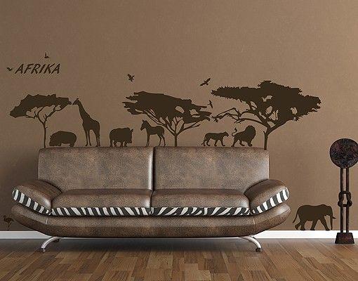 Wandtattoo Löwe Elefant No.RS71 Leben in der Savanne