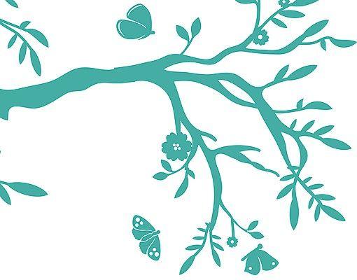 Wandtattoo Wald - Baum No.RS75 Ast mit Schmetterlingen II