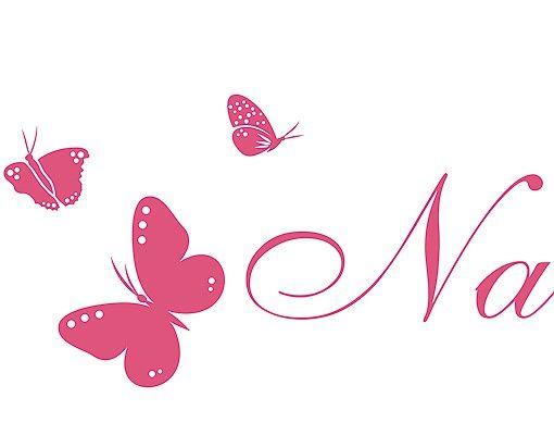 Wandtattoo Sprüche - Wandtattoo Namen No.RS77 Wunschtext Name mit Schmetterlingen
