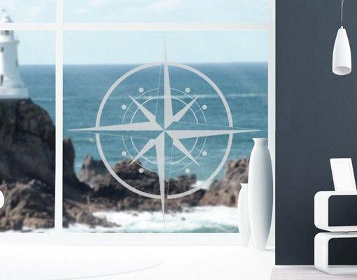 Fensterfolie - Fenstertattoo No.IS143 Kompass - Milchglasfolie