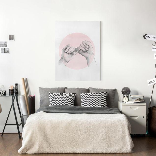 Leinwandbild - Illustration Hände Freundschaft Kreis Rosa Weiß - Hochformat 4:3