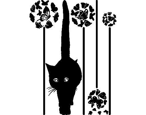Fensterfolie - Fenstertattoo No.RS76 Katze in Blumenwiese - Milchglasfolie